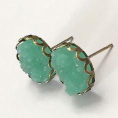 Mint Druzy Style Earrings W/Base
