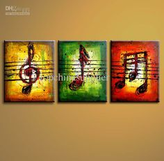 Art Modern Abstract Oil Painting Musical Painting Pentaptych Fashion Wall Decor ON Sale 30x90CMx5