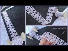 Easy crochet lace ribbon / Crochet flower in the box Easy to Crochet TAPE LACE Tutorial Crochet Cord, Crochet Lace Edging, Crochet Triangle, Crochet Borders, Easy Crochet, Crochet Flowers, Crochet Stitches, Crochet Patterns, Crochet Hats