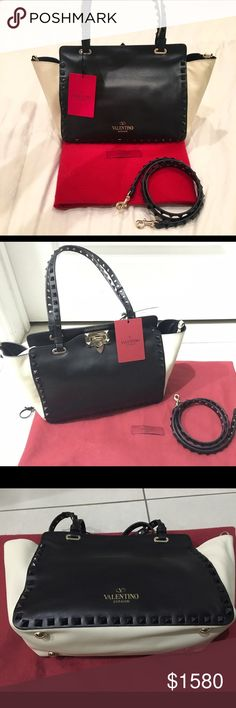 Valentino Rockstud mini tote New with tags! Two-tone Valentino Rockstud tote in black and cream. Valentino Garavani Bags Shoulder Bags