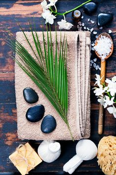 Spa background - Spa background (white orchid, herbal compress stamps, sea salt, towel, candle and massage stones)