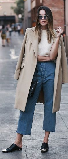 Thrifts And Threads Flat Mules Camel Coat White Sweater Cut Off Boyfriends Fall Inspo