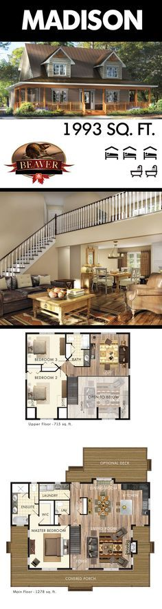 The Madison is designed with a Cape Cod feel. A sprawling open concept living room with two-story ceiling creates a spacious living space. #BeaverHomesAndCottages