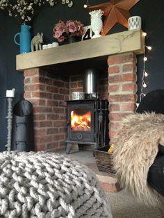 Fireplace, dark walls, Farrow and Ball Railings, textures , brick, colors