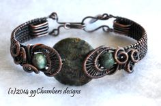 Ocean Chalcedony with Royston Boulder Turquoise beads on the side, antiqued copper, sealed bracelet.