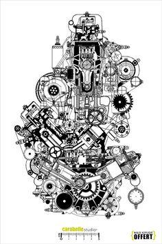 Tampon Caoutchouc Format (A4) Bloc acrylique offert Steampunk
