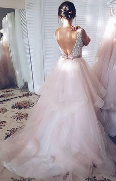 Light Pink V-neck Sleeveless Sweep Train Lace Top Tulle Wedding Dress with Sash,N597 #promdresses #longpromdress #2018weddingdresses #fashionpromdresses #charmingpromdresses #2018newstyles #fashions #styles #prom #ballgown #2018 #tulle #simibridaldresses #pink