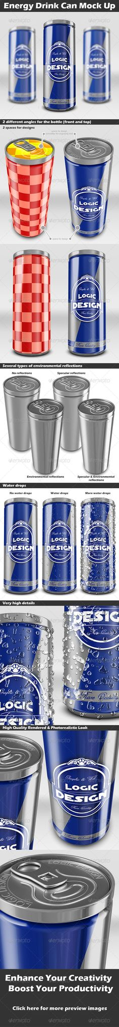 Energy Drink Can Mock UpDescription A professional Energy Drink Can Mock Up. You can easily change the Smart Object labels. Shadow