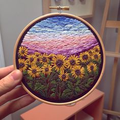 """319 Likes, 3 Comments - RiverBirchThreads (@riverbirchthreads) on Instagram: """"Sunflower Field • 5 inch • Available on Etsy - Linked in bio ✨ • • • • #embroidery #embroideryart…"""""""