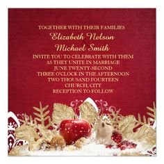 Apple Christmas Gold Snowflakes Wedding Invite