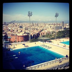 Montjuic swimming with amazing views www.freegreenbeans.com