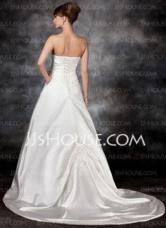 A-Line/Princess Strapless Court Train Satin Wedding Dress With Ruffle Beadwork (002017113)