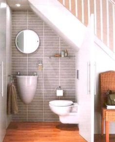 Tiny bathroom under the stairs. Great idea if you put in the turning steps up to the loft in the tiny house Tiny bathroom under the stairs. Great idea if you put in the turning steps up to the loft in the tiny house Space Under Stairs, Bathroom Under Stairs, Master Bathroom, Downstairs Bathroom, Attic Bathroom, Under The Stairs Toilet, Down Stairs Toilet Ideas, Staircase For Small Spaces, Small Wc Ideas Downstairs Loo