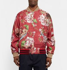 Gucci Men Reversible Geranium Print Silk Twill Bomber Jacket