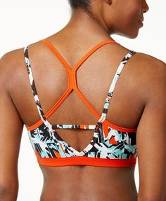 This print Levity sports bra from Soybu is perfect for palates and wonderful for weight training or any other low-impact activity. | Polyester/spandex | Machine washable | Imported | Scoop neckline |