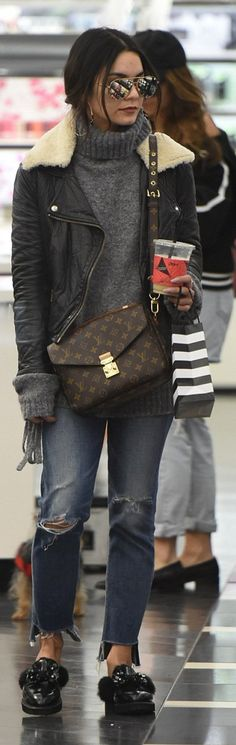 Vanessa Hudgens in Purse – Louis Vuitton  Sweater – Lovers + Friends  Jacket – Acne  Jeans – Citizens of Humanity