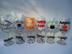 Halloween personalized wine glasses - Set of SIX - party favor - gift - party - Extra large size -mix and match on Etsy, $66.00