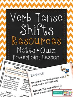 Verb Tense Shifts Resources: Editable PowerPoint, Student Notes, & 10 Question Quiz. Shifts in Verb Tense $