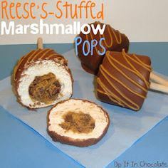 Reeses-Stuffed Chocolate-Dipped Marshmallow Pops