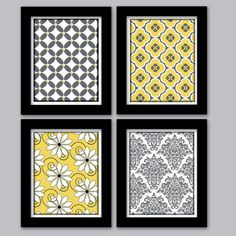Yellow and Grey Home Decor Wall Art Set of 4 by HollyPopDesigns, $43.00... this was the idea i was trying to describe at lunch the other day with the wallpaper in frames.