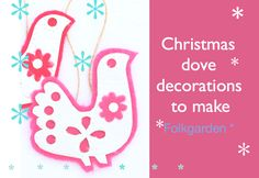 Simple Felt Doves to Make. An Instant Download, step by step tutorial. New at folkgarden for Christmas 2017.