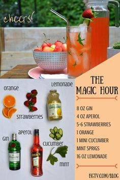 Try this herb-y, sweet and refreshing Magic Hour cocktail at your next summer gathering >> http://blog.hgtv.com/design/2015/07/02/hgtv-happy-hour-the-magic-hour-cocktail/?soc=pinterest #HGTVHappyHour