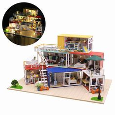 Hoomeda 13843Z Container Home With Music Cover Light DIY Dollhouse Kit 3D Japanese Style