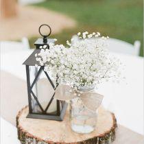 Gallery: Rustic wedding ideas - Handmade Gold Glitter Mason Jars with Baby's Breath - Deer Pearl Flowers