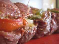 beef tenderloin stuffed with mustard - onion - paprika -> before