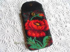 Phone Cover Phone Pouch Felt Phone Case Red Poppy от Aurumvelleris