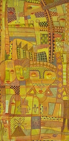 Nike Davies-Okundaye & Tola Wewe Feminine Power Series, 2002 Mixed media on canvas 71 x 36 in x cm Power Series, Tola, Art Brut, Art Sites, Black Image, Art For Art Sake, Saturated Color, Colorful Drawings, Mixed Media Canvas