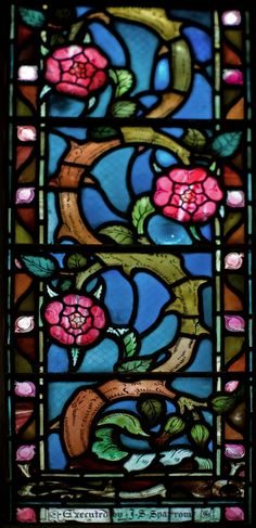Stained glass window by Walter Crane (1845–1915), Church of the Ark of the Covenant, Rookwood Road, Clapton. The church has a history as rich and colourful as the glass. It was built by and for the utopian Agapemonite sect in 1892-5, later became the Church of the Good Shepherd of the Ancient Catholic Church, and is now used by the Georgian Orthodox Church.