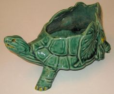 Green TURTLE w/LILY PAD LEAVES Vintage MCCOY Pottery PLANTER