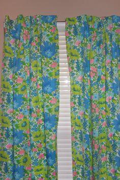 Vintage Curtains  Pastel Floral Print  36X80  by LuLusVintageMart, $28.00