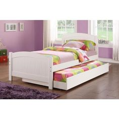 Hollywood Decor Aversa White Twin Bed with Pull Out