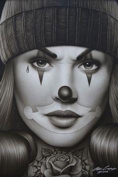 OG Payasa by Spider Gangster Woman Tattooed Clown Face Fine Art Print