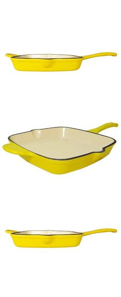 Fancycook Enamel Cast Iron Lemon Yellow Square Grill Pan 10 1/2-Inch, Clearance Sale!