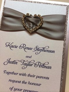 Silver Glitter Ribbon Heart Rhinestone Wedding Invitation by Fort Lauderdale Invitations - Visit our website for ordering information or search for us on Etsy @ Milgrim Designs! Fort Lauderdale * Hollywood * Miami * Palm Beaches * We Ship across the USA!