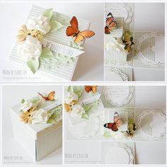 Made by Groszek: Ślubny exploding box w wiosennych kolorach