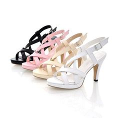 High Heel Cut Outs Buckle Leather Sandals - Uniqistic.com