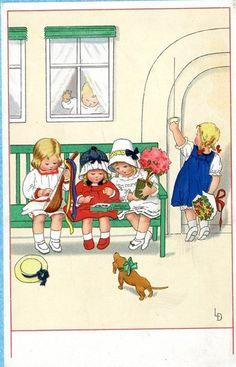 Lia Doring Postcard Children Play Instrument Dachshund Dog Flowers M B   eBay