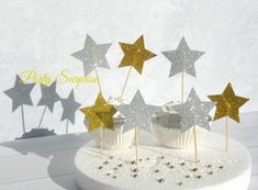 Stars Cupcake Toppers Gold and Silver Glitter Cake Topper Cupcake Decoration Twinkle Stars Birthday Party New Years Christmas Hanukkah