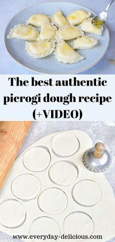 pierogi recipe The best authentic pierogi dough recipe (video recipe) Best Pierogi Dough Recipe, Vegan Pierogi Recipe, Pierogies Homemade, Food Network, Ukrainian Recipes, Ukrainian Desserts, Healthy Recipes, Vegetarian Recipes, Appetizers