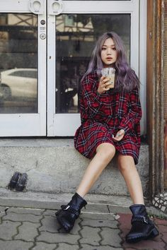 Tumblr | Purple/grey hair, oversized plaid, and black ankle boots. Nothing wrong with being grunge