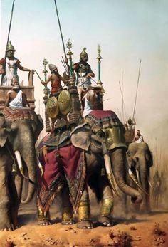 """""""Éumenes de Cardia (en el centro) y sus elefantes de guerra, 317-316 aC"""""""