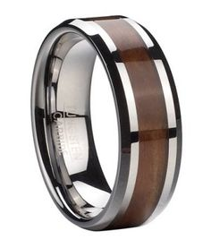 Classic yet utterly unique, this men's tungsten ring with Koa wood inlay offers a handsome alternative to more traditional wedding bands. Rich Koa wood runs eternity style down the center of this men's ring, and is perfectly highlighted by polished beveled edges. An 8mm comfort fit band ensures ease of wear. $64.95