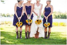 Purple Bridesmaids Dresses with Cowboy boots and Sunflower bouquets. i think yes!!!!!