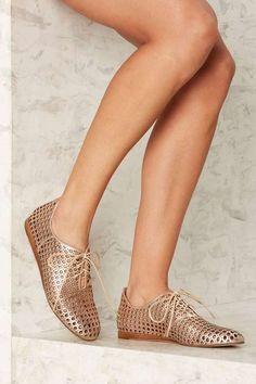 Gold Leather Oxford Flats