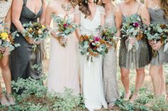 Neutral with a pop of bold color schemes.  #LaubergeDelMar #weddingtrends  Organic neutral bridal party with bright pops of color | Rebecca Hollis