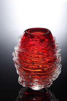 現代中式風格  絢麗紅琉璃擺件
